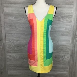 Anthropologie Minuet Rainbow Color Block Dress